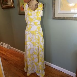 Bisou Bisou yellow and white summer Maxi dress